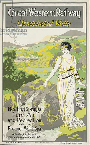 Llandrindod Wells, poster advertising the Great Western Railway (colour litho)