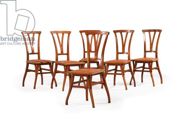 Six Bloemenwere dining chairs, c.1898 (mahogany with leather seat)