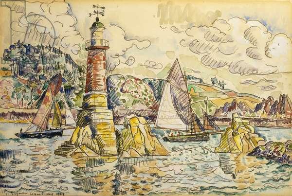 La Phare a Lezardrieux, 1927 (watercolour over black chalk on paper)