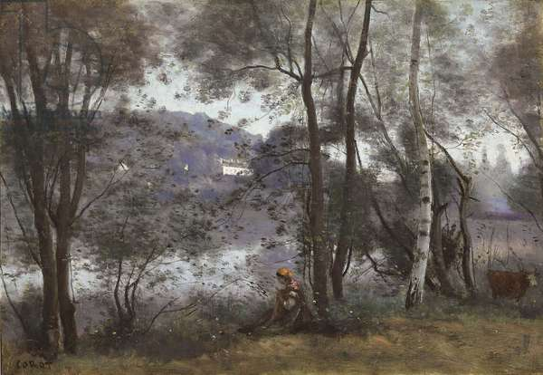 Ville d'Avray: The Lake Seen Through Foliage, 1865-1870 (oil on canvas)