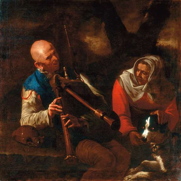 A peasant playing a bagpipe and an old woman listening with a dog (oil on canvas)