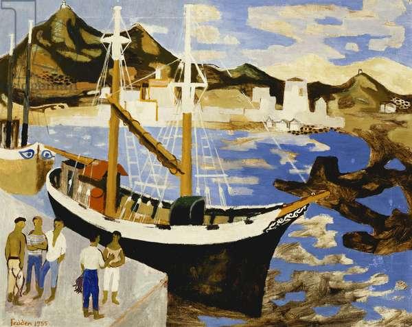 Sardinian Harbour, 1955 (oil on canvas)