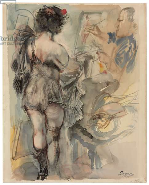 Model in Costume, 1941 (watercolour and brush and ink on paper)