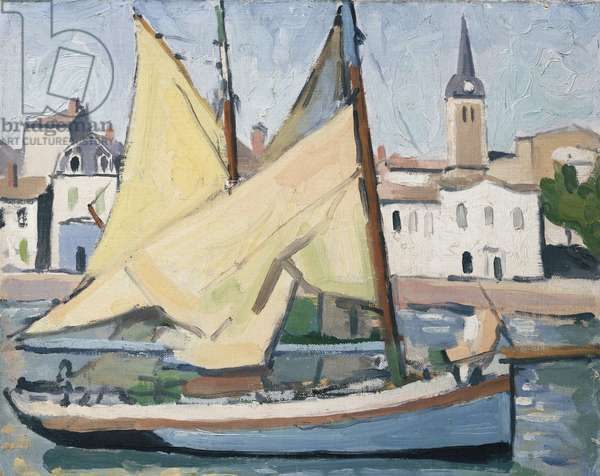 The Yacht and the Church, La Chaume, 1921 (oil on canvas board)