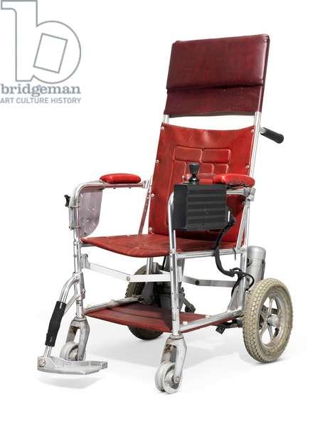 A motorised wheelchair owned by Stephen Hawking, c.1988 (metal & leather)