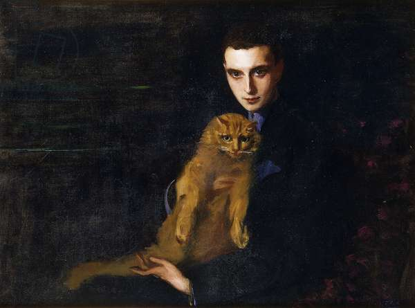 Portrait of Erte with Misha, c. 1915 (oil on canvas)