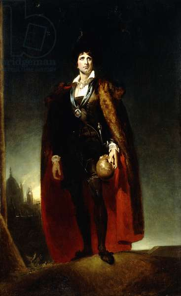 Portrait of John Kemble as Hamlet, standing full-length in a Landscape, wearing a cape and holding a skull,  (oil on canvas)