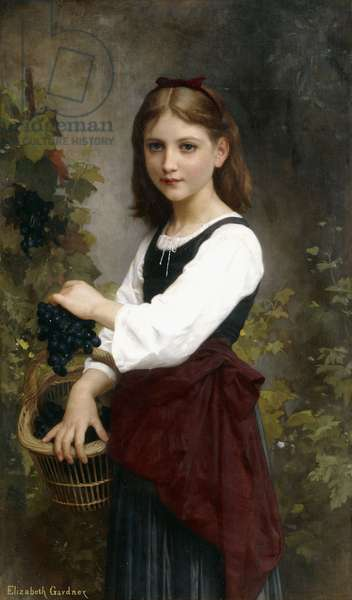 A Young Girl Holding a Basket of Grapes,  (oil on canvas)