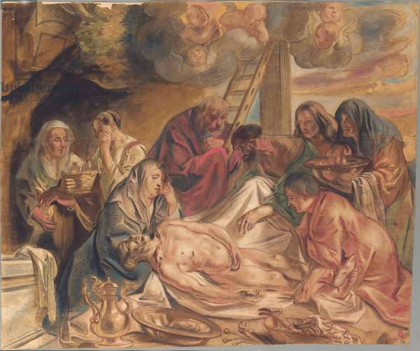 Washing and anointing of the body of Christ (chalk & wash on paper)