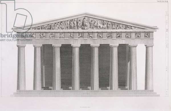 Front elevation of a classical building, Volume II, Chapter I, Plate III, from 'The Antiquities of Athens', by James Stuart (1713-1788) & Nicholas Revett (1720-1804), 1787 (engraving)