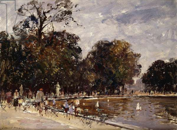 Model Yachts on the Round Pond, Tuileries Gardens, Paris, (oil on board)