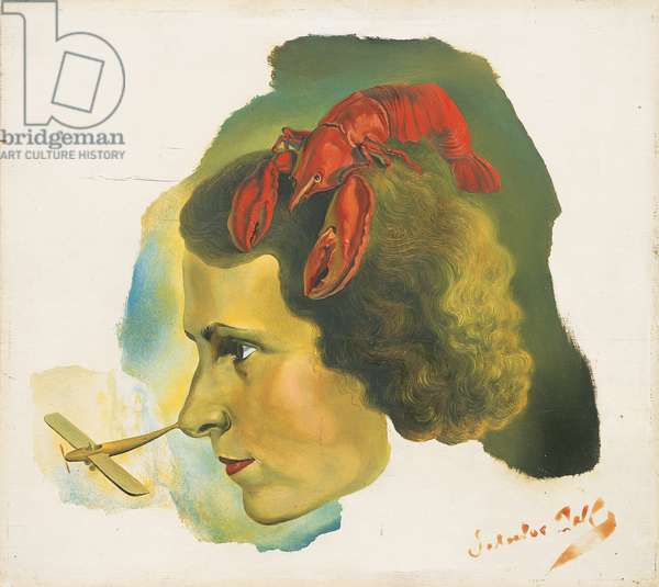 Portrait of Gala with Lobster, c.1934 (oil on panel)