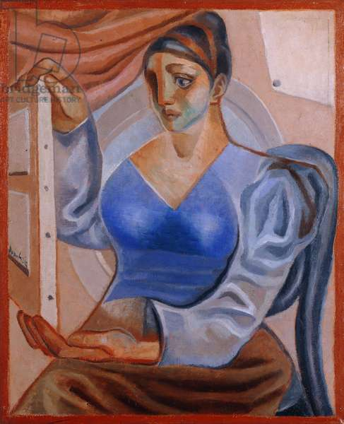 Woman with a Painting; La Femme au Tableau, (oil on canvas)