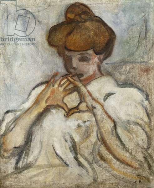 Woman with a Hair Chignon; Femme au Chignon, (oil on canvas)
