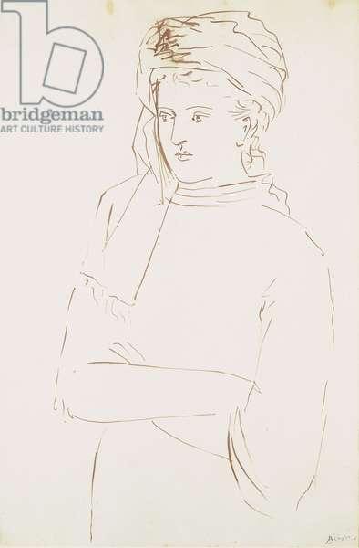Femme au Turban (Sara Murphy), 1923 (bistre ink on paper)