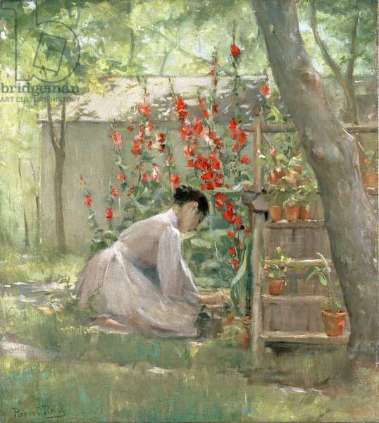 Tending the Garden (oil on canvas)