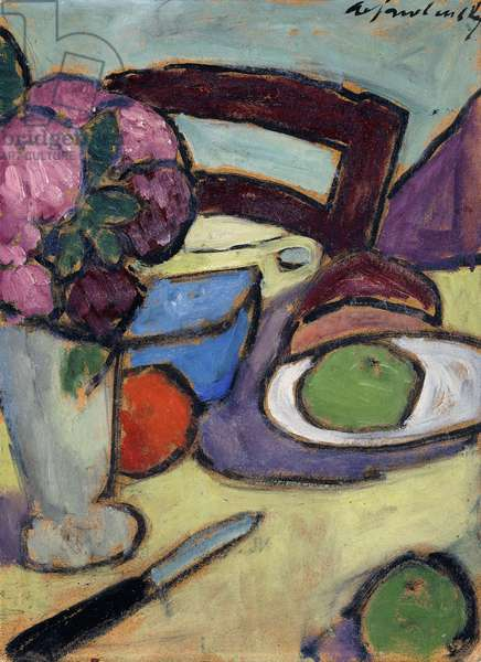 Still life with Chair and Bouquet; Stilleben mit Stuhl und Blumenstrasse, 1906 (oil on board)