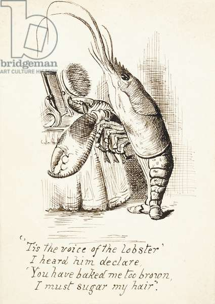 The Lobster, with a hairbrush in its Claw Standing Before a Dressing Table, with 4 Lines of Verse, c.1865 (pen and brown ink)