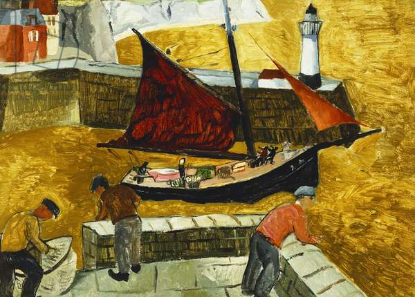 Mousehole, Cornwall, 1928 (oil on board laid down on panel)