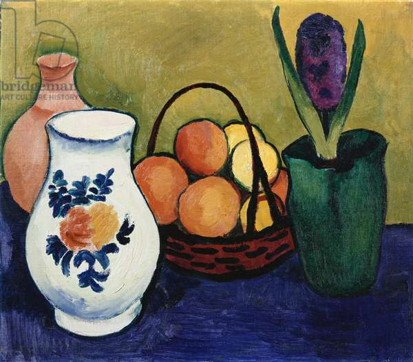 The White Jug with Flower and Fruit, 1910 (oil on canvas laid down on board)
