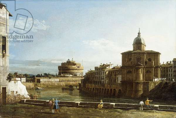 A View of Rome along the Tiber, with the Church of San Giovanni dei Fiorentini beyond,  (oil on canvas)