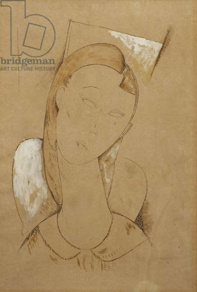 Young Woman; Giovane Donna, c. 1917-1918 (brown wash pen and black ink heightened with white on paper)