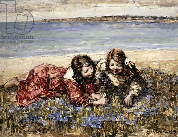 Gathering Flowers by the Seashore, 1919 (oil on panel)