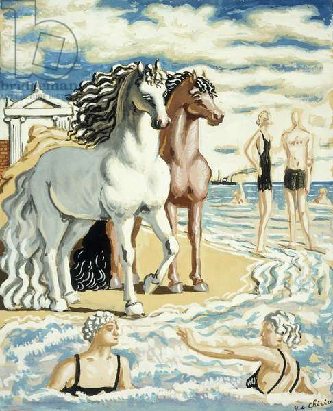 Horses and Bathers, 1939-1941 (gouache on paper laid down on board)