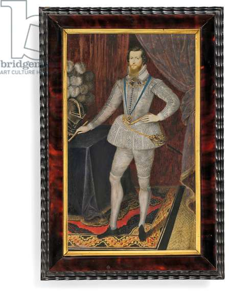 Robert Devereux, 2nd Earl of Essex (vellum with tortoiseshell frame & gold mount)