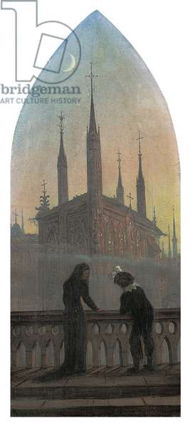 People in old German dress in contemplation of a medieval town (oil on canvas)