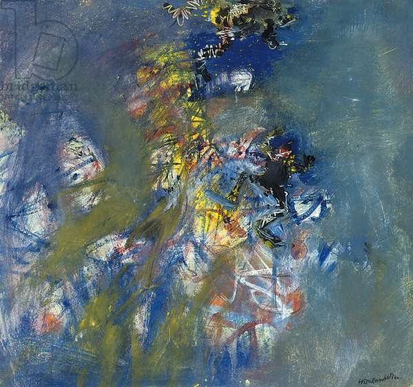 Frog breaking surface, 1960 (gouache on paper)