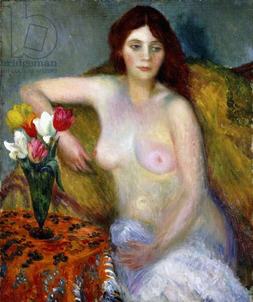nude with Tulips,  (oil on canvas)