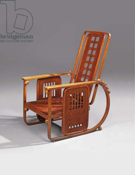 Sitzmaschine, adjustable lounge chair, produced by J. & J. Kohn, 1908 (stained bentwood, plywood & brass) (see also 614040)