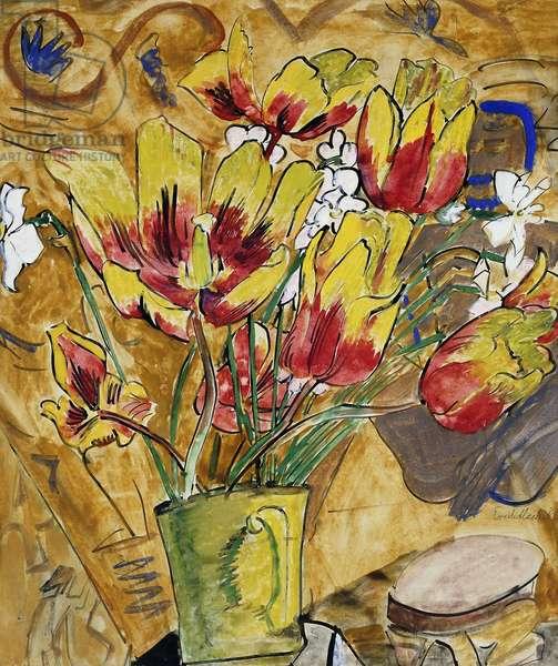 Two Pots of Wilting Flowers; Zwei Vasen Welkende Blumen, (gouache and watercolour on paper)