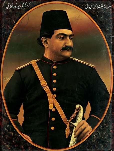 Portrait of Zill-aI Sultan, Qajar period, 1890-91 (oil on tin)
