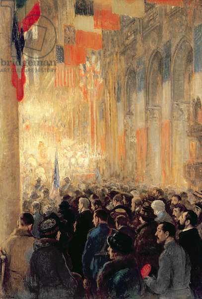Service in Notre Dame, giving thanks for victory after the Great International War, 1918 (oil on canvas)