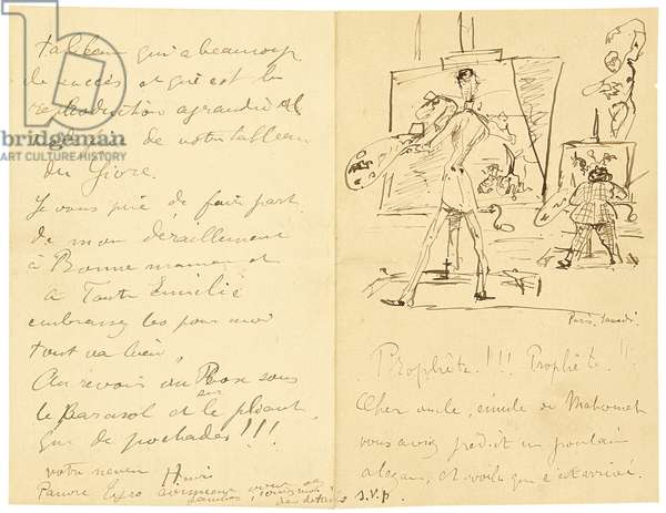 Princeteau and Lautrec (handwritten letter to the artist's uncle), 1881 (pen & ink on paper)