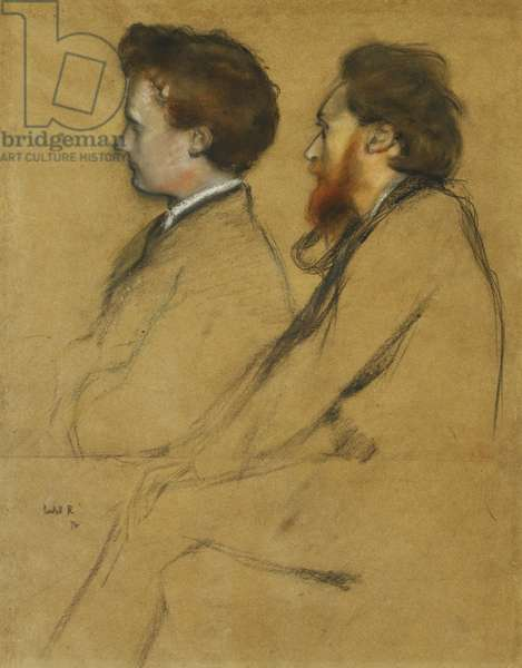 Mr Charles Ricketts and Mr Charles Hazlewood Shannon, (black chalk and pastel on brown paper)