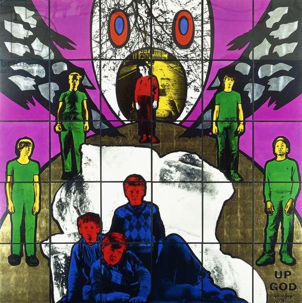 Up God, 1983 (thirty panels: hand-dyed photographs mounted on masonite in meta)