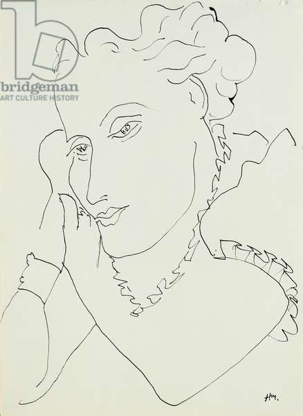 Head of a Woman, hands against her Cheek, 1937 (pen and India ink on paper)