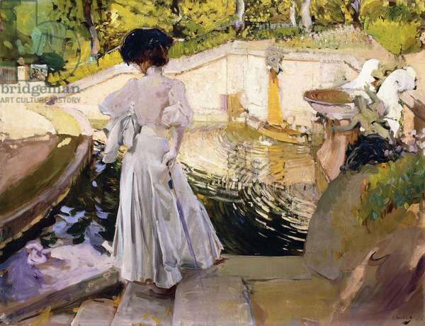 Maria looking at the Fishes, Granja, 1907 (oil on canvas)