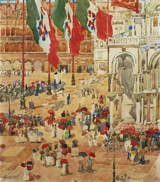 The Piazza of St. Marks, Venice (w/c & pencil on paper)