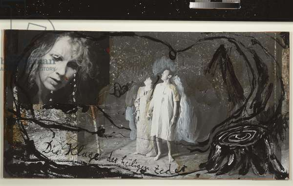 The Lament of the Sacred Cedars, 1981 (oil, w/c & varnish on gelatin silver print collage on board)