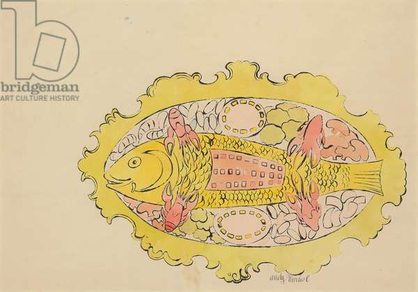 Fish on a Platter, c.1959 (ink and watercolour on paper)