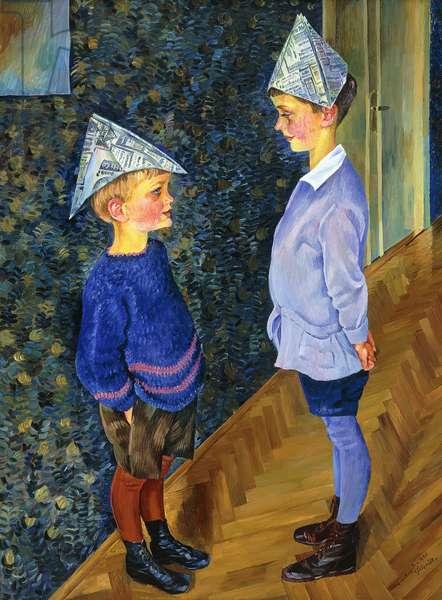 Luca and Titus in Paper Hats; Luca und Titus in Papierhuten, 1926 (oil on canvas)