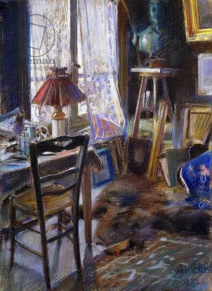 The Studio of Comte Deheaulme de Vallombreuse, 36 Rue Jouffroy, Paris, 1888 (pastel)
