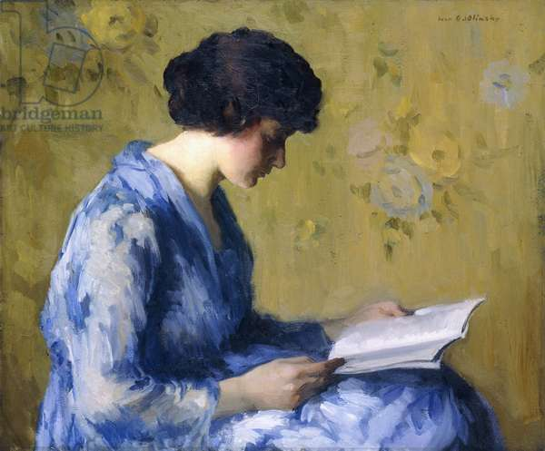 A Woman Reading,  (oil on canvas)