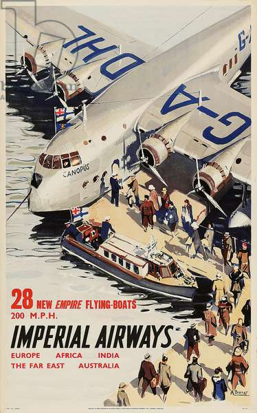 Imperial Airways Poster, 28 New Empire Flying Boats. 1937 (colour litho)