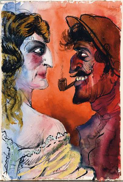 French People or French Couple; Franzosisches Ehepaar (Franzosisches Paar), 1925 (gouache, watercolour, pen and ink on paper)