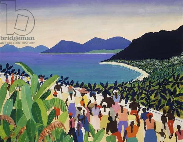 Jamaican Bay, (gouache and oil on canvas)
